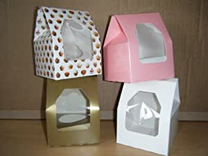 Single Cupcake Muffin Fairy Cake Boxes, mixed pack of 40, pink, white, gold, decorated (10 of each)