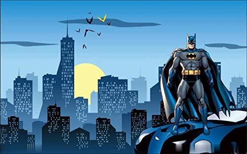 Cartoon Batman Waffel Tapete Junge Mädchen Kinder Zimmer Zimmer Hintergrund Tapete Wandtuch (H) 250 * (W) 175cm pro - Lila Waffel