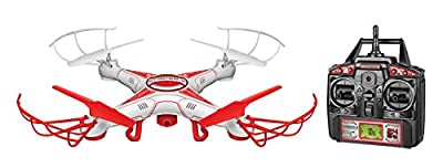 World Tech Toys 33042 Striker-X Drone 2.4GHz 4.5CH HD Picture/Video Camera RC Quadcopter, Red/White, 12 x 12 x 2.75