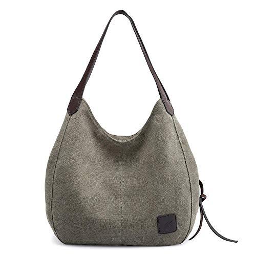 LTTGG Mode Umhängetasche neue mehrschichtige Leinwand Handtasche Trend wilde Tasche Mode Kunst simple @ green -