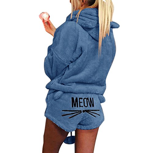 Hibote Herbst Winter Pyjamas Frauen Zweiteiler Pyjama Set Warm Korallen Fleece Samtanzug Kawaii Nachtwäsche Cute Cat Pattern Hoodies Short Dunkelblau 2XL