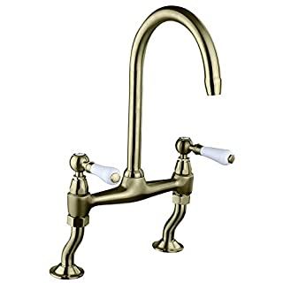 Astini Provencale Antique Bronze Twin Lever Kitchen Sink Bridge Mixer Tap