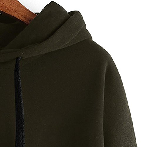 Tonsee Femmes de Long Hoodie Sweatshirt pull Pullover Tops Blouse à manches Armée Verte