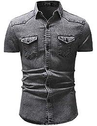 43f8fba3bd4e3 GZYD Chemises pour Hommes Cow-Boy Revers T-Shirt boutonné Mode Cardigan  Manteau Classique