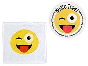 Asciugamano magico in cotone con disegno emojicon, Magic Towel compresso, metterlo in acqua e si svolge, stile smiley emoticon, divertente accessorio bagno 30 x 30 cm, Marca Alsino, 31/4022 linguaccia