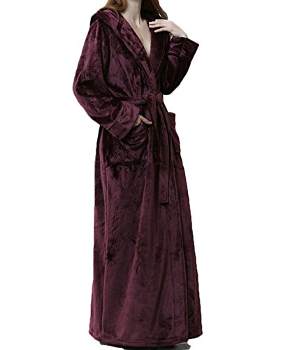 Frauen / Männer Unisex Herbst / Winter Flanell Cosy Warm Home Bademantel Bademantel Pyjamas Dicke Warme Hosen Bademantel Pyjamas Extra Lange,Purple-XL (Baumwoll-terry-stoff-robe)