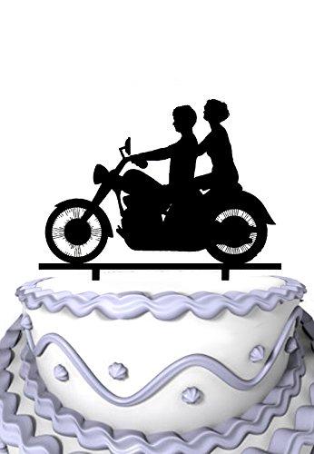 Mei Jia Fei Braut und Brautigam mit Script M & J Motorrad-Monogramm-Kuchen-Deckel