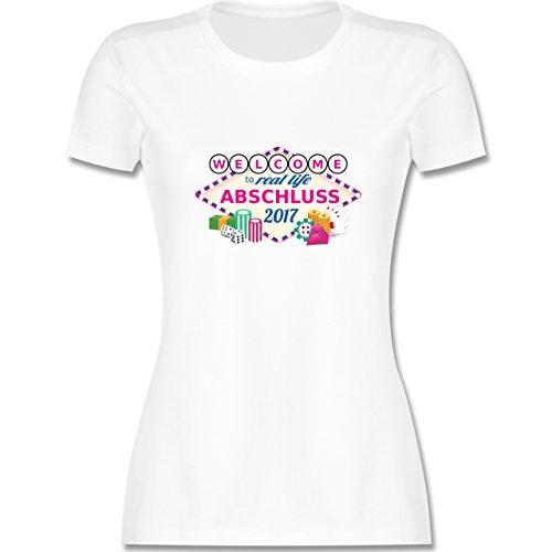 Abi & Abschluss - Abschluss 2017 - Welcome to real life - tailliertes Premium T-Shirt mit Rundhalsausschnitt für Damen Weiß