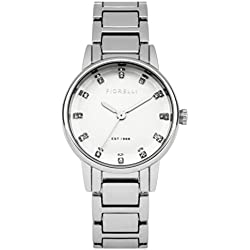 Fiorelli Women's Quartz Watch with Silver Dial Analogue Display and Silver Alloy Bracelet FO020SM