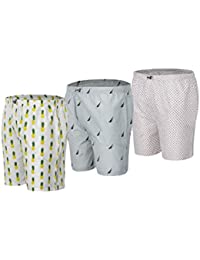 HASHBEAN Men's Printed Cotton Boxers With Side Pockets (Pack Of 3)