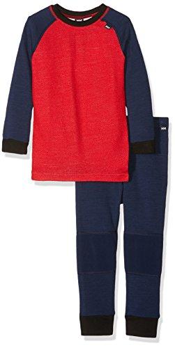 Helly Hansen Kinder K HH WARM 2 Set Funktionsunterwäsche, Evening Blue/Alert Red, 104/4 | 07040054923446