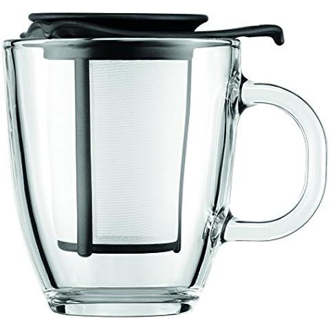 Bodum Yo-Yo Set - Tetera individual, 0,35 l, taza de cristal, filtro y tapa plástico, color negro