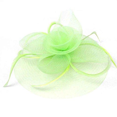 LUFA Lady Flower Feather Mesh Net Fascinator Wedding Party Headwear with Hair Clip