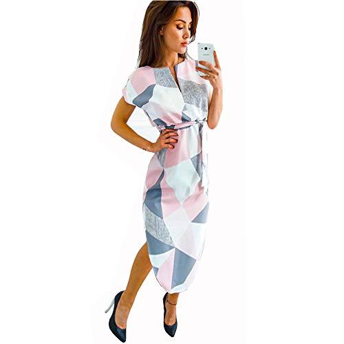 LitBud Damen Kleider Sommer Kurzarm Vintage Business Urlaub Belted Shift Midi Tunika Kleid für Damen Rosa Größe 36 38 M Sommer-shift