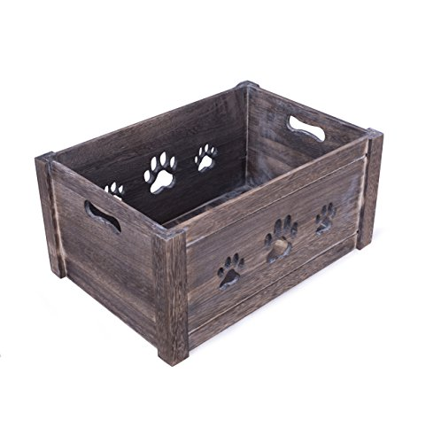 Basic House Ltd Paw Shaped Cutout Dog Toys Chest Gift Hampers Storage Collection Box Wooden Crates Gift Hampers (Small)