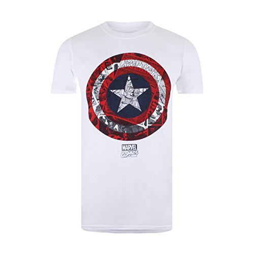 Marvel Herren T-Shirt Ca Comic Shield Weiß, X-Large (Shirt Logo Shield)