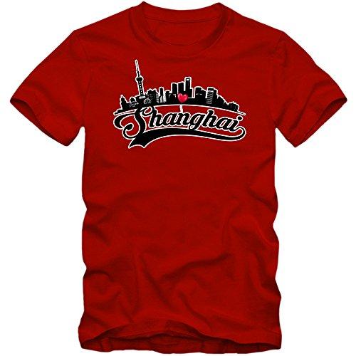 Skyline T-Shirt | Herren | Shanghai | China | Stadtsilhouette | Globetrotter | Städtereise | Herrenshirt © Shirt Happenz Rot (Red L190)