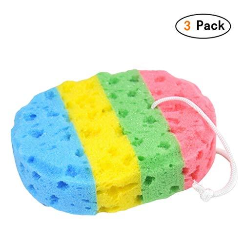 Chenqi Baby Badeschwamm - Kinder Bad Ball sauber Scrub Rainbow Farbe Säuglings Haushalt Badezimmer Reinigung Helfer 3 Packs - Säuglings-scrubs