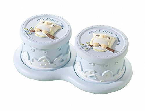 Lillian Rose Keepsake Tooth and Curl Box, Blue Owl, 5.5