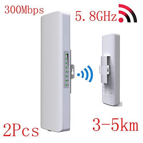 Outdoor-WLAN-CPE-Netzwerk-Brücke, 2 * 14dbi WiFi Repeater, Long Range 300Mbps WLAN Router, 3-5km Antenne Booster, für alle Arten von Rauen Umgebungen,EU,2PCS ()