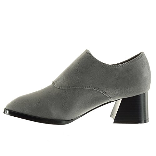 Angkorly Scarpe da Moda Stivaletti - Scarponcini low boots donna fibbia tanga Tacco a blocco tacco alto 5 CM Grigio