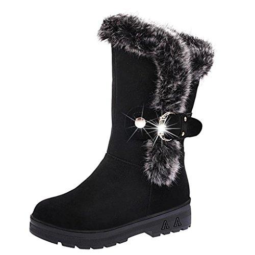 FEITONG Frauen Stiefel Damen Winter Freizeit Wasserdicht Schuhe Kunstpelz Anti-Slip Stiefel (CN:41=EU:40, Schwarz) (Schwarz Schaffell-plattform)
