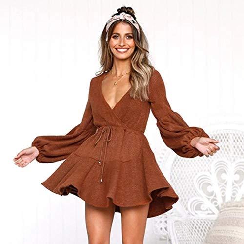 LALY A SHOP Robe Pull Femme tricotée à Volants en Automne et en Hiver, Dentelle, Robes Courtes, tenue décontractée, Manches Longues, Robe trapèze, 02 orange Rouge, S -