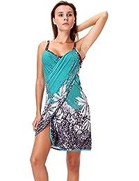 SAYFUT Womens V Neck Wrap Dress Beach Spaghetti Straps Dress Knee Beach Dresses Backless Bikini Cover up Sundresses Spa Swim Dress,Nylon One Size