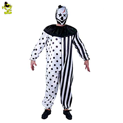 GAOGUAIG AA plus size striped kill clown party kostüme männer overall maske mörder clown kostüm halloween scary party cosplay kostüme SD (Color : Onecolor, Size : - Mörder Clown Kostüm Männer