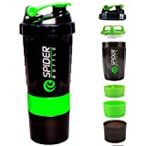 PreeX Spider Protein Shaker Bottle 500ml with 2 Storage Extra Compartment for Gym
