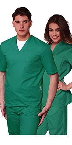 Promo - Divisa Verde Ospedaliero Unisex Sanitaria ospedaliera Casacca e Pantalone, 100% Cotone Infermiere, OSS, Medico, SPEDIZIONE 24/48h a casa Tua (XXL)
