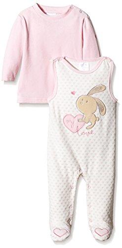 Twins Baby-Mädchen ärmelloser Strampler mit Langarmshirt, Mehrfarbig (Rosé/Ecru 230020), 9-12 Monate (Herstellergröße: 80) (Bequeme Baumwoll-strampler)