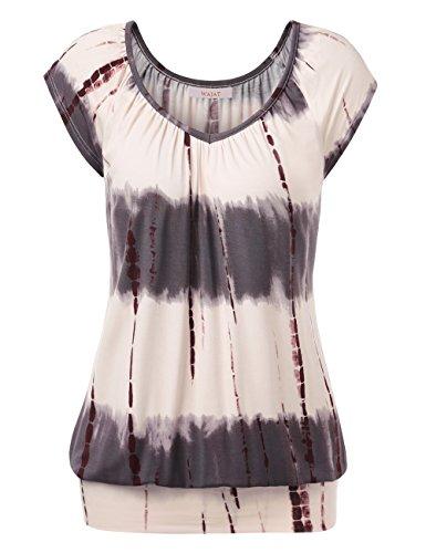 WAJAT Damen Raglan Falten T-Shirt Kurzarm Stretch V-Ausschnitt Tie Dye Kaffee M