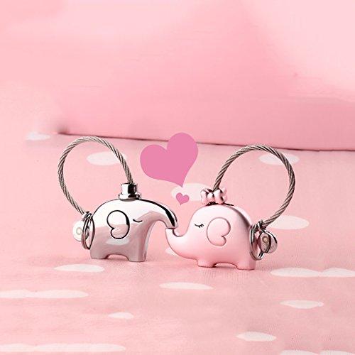 Cs 2 Combinaisons d'amants clés Boutons Une Paire d'éléphant Porte-clés chaîne créative Voiture Pendentif Bande dessinée Belle Porte-clés