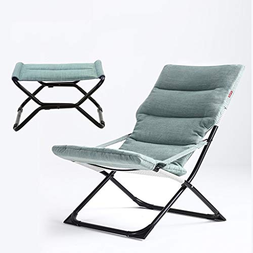 DUOER-Klappstühle Sun Lounger Reclining Recliner Stühle im Freien Garten Terrasse Relaxer mit Kissen (Color : Blue)