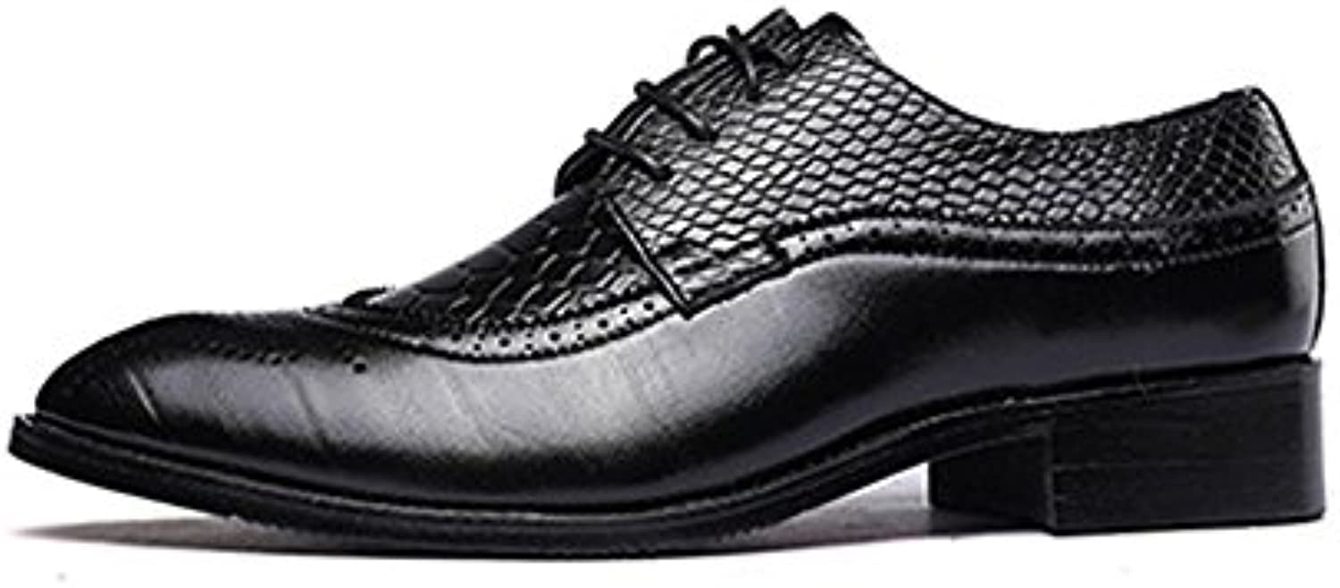 New Scarpe in Pelle PU da Uomo Hollow Carving Splice Snake Texture Pelle Lace Up Up Business Low Top Foderato... | Ufficiale  | Sig/Sig Ra Scarpa