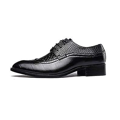 MXNET Chaussures en Cuir Oxford, Chaussures en Cuir PU Texture Carrée jusqu'à Lacets Respirant Doublés pour Hommes (Couleur : Black, Size : 43 EU)