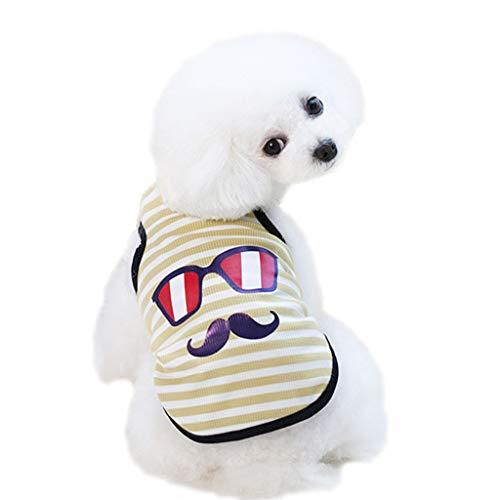 YWLINK Pet Tank Streifen Brille Schnurrbart Karikatur Drucken Weste FrüHling Und Sommer Haustier Hund Kleidung Weste(XL,Gelb)