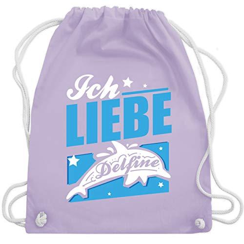 Sonstige Tiere - Ich liebe Delfine - Unisize - Pastell Lila - WM110 - Turnbeutel & Gym Bag
