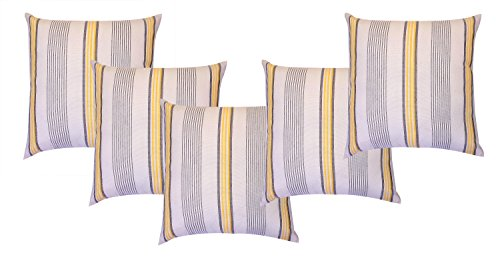 Linen World Premium Quality Linen & Cotton Stripe Cushion Cover (H1107-1-5, Multicolor, Pack of 5)