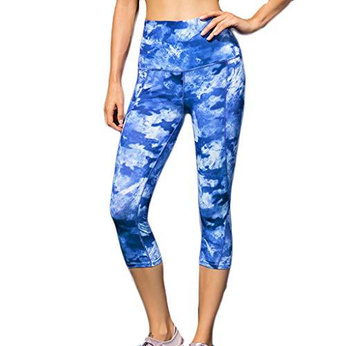 TTWOMEN Gedruckte Yogahosen, Damen Elastische Gamaschen mit Hoher Taille Tragen Beiläufige Feste Hosen Eignungs Schräge Mode zur Schau (Himmelblau, Large)