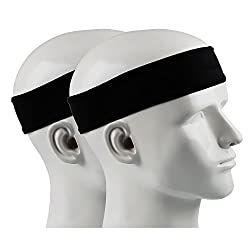Ipow 2 Piece Anti-slip Sweatband Sport Headband Unisex Headband Great for Tennis, Running, Crossfit, Fitness for Ladies and Mens Black
