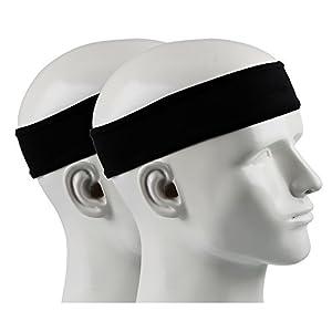 41L6Af1Y6 L. SS300 IPOW 2 pz Headband Fasce da Corsa Fascia Capelli Uomo Fascia antisudore Testa Antisscivolo e e Antisudore Traspirante Fascia Elastica per Corso, Viaggio, Yoga, Pilates, Donna e Uomo, Nero