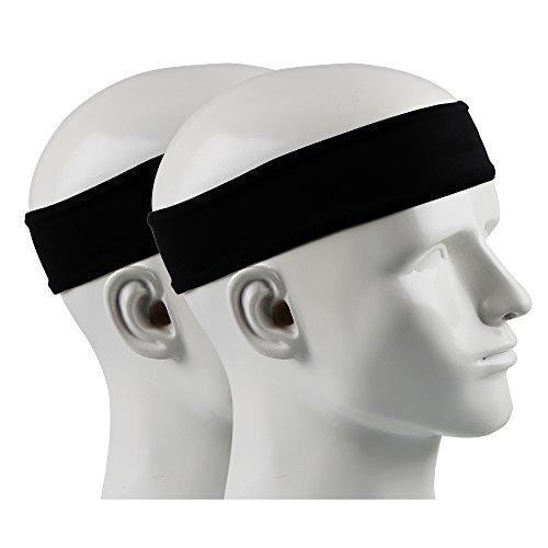 Ipow 2 Stück Anti-Rutsch Schweißband Sport Stirnband Unisex Headband ideal für Tennis, Laufen,...