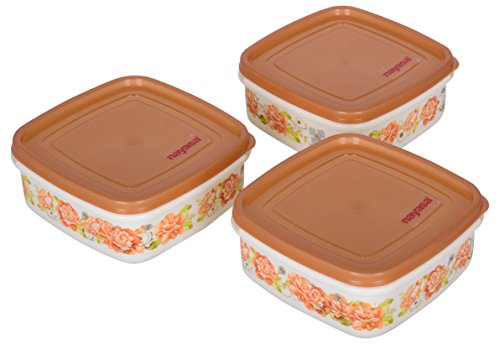 Nayasa Plastic Containers, 650 ml, 3-Piece, Brown-aarohi13