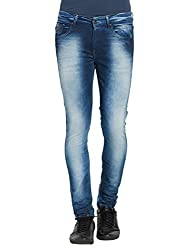 Spykar Mens Mid Blue Super Skinny Fit Low Rise Jeans (30)