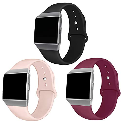Kmasic Kompatibel Fitbit Ionic Armbänder, Weich Silikon Sport Gurt Zubehar Atmungsaktive Ersatz-Armbander für Fitbit Ionic Smart Watch, Frauen Manner, Groß, 3 Pack Schwarz/Sand Pink/Weinrot