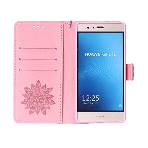 Huawei P9 Lite Case, verrückte Pferd Textur Half Flower Printing Horizontale Flip Ledertasche mit Halter & Card Slots & Wallet & Lanyard für Huawei P9 Lite by diebelleu ( Color : Brown ) Pink