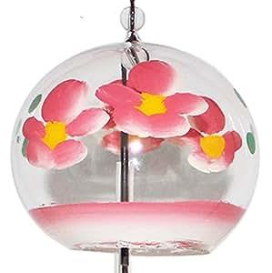 """Carillon à vent japonais en verre peint à la main """"Fleur Rose"""""""