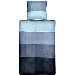 Aminata – gestreifte Bettwäsche 135x200 cm Baumwolle + Reißverschluss zum Wenden Farbverlauf Wendebettwäsche Blau Hellblau Streifen kariert Karos Bettwäscheset Ganzjahres Bettbezug Normalbettgröße